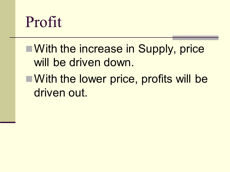 Profit With the increase in Supply, price will be driven down.