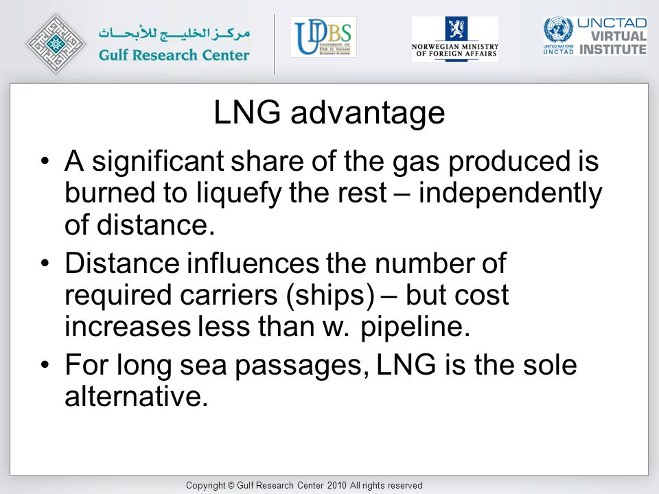 Copyright © Gulf Research Center 2010 All rights reserved LNG advantage A significant share of the gas produced is burned to liquefy the rest – independently of distance.