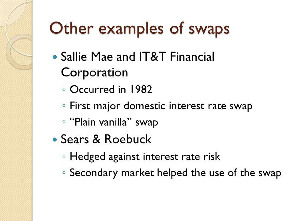 Other examples of swaps Sallie Mae and IT&T Financial Corporation Occurred in 1982 First major domestic interest rate swap Plain vanilla swap Sears &