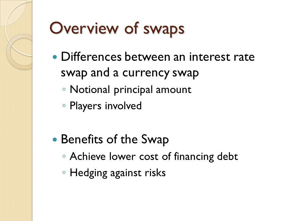 Overview of swaps Differences between an interest rate swap and a currency swap Notional principal amount Players involved Benefits of the Swap Achieve lower cost of financing debt Hedging against risks