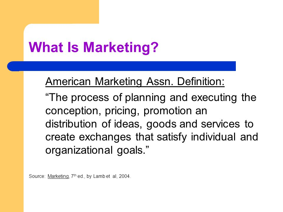 What Is Marketing. American Marketing Assn.