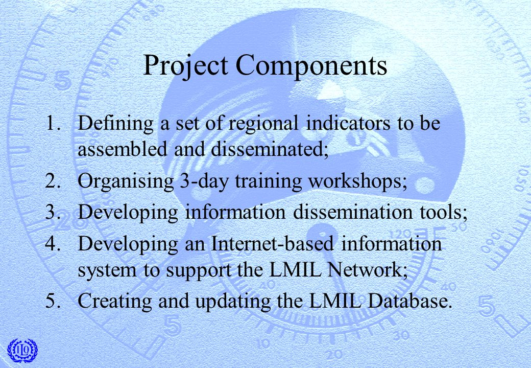 Project Components 1.Defining a set of regional indicators to be assembled and disseminated; 2.Organising 3-day training workshops; 3.Developing information dissemination tools; 4.Developing an Internet-based information system to support the LMIL Network; 5.Creating and updating the LMIL Database.