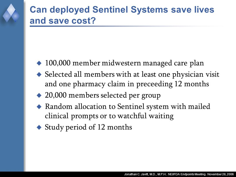 Jonathan C. Javitt, M.D., M.P.H.: NEI/FDA Endpoints Meeting. November 28, 2006 Can deployed Sentinel Systems save lives and save cost? 100,000 member