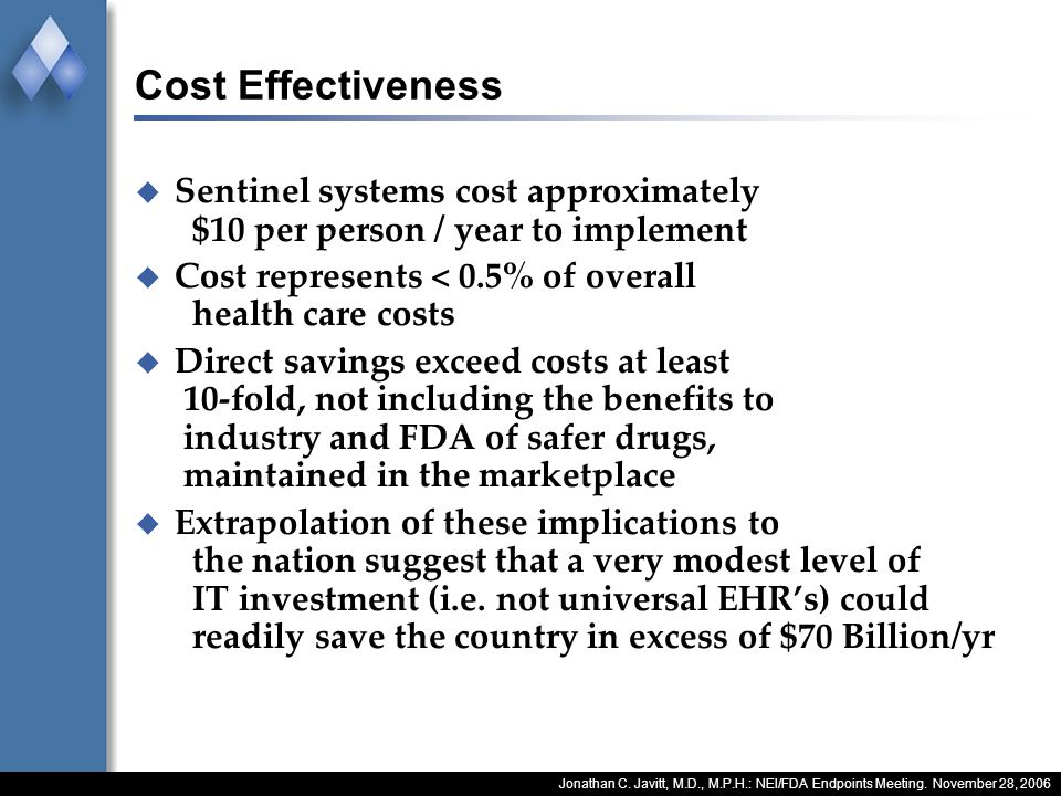 Jonathan C. Javitt, M.D., M.P.H.: NEI/FDA Endpoints Meeting. November 28, 2006 Cost Effectiveness Sentinel systems cost approximately $10 per person /