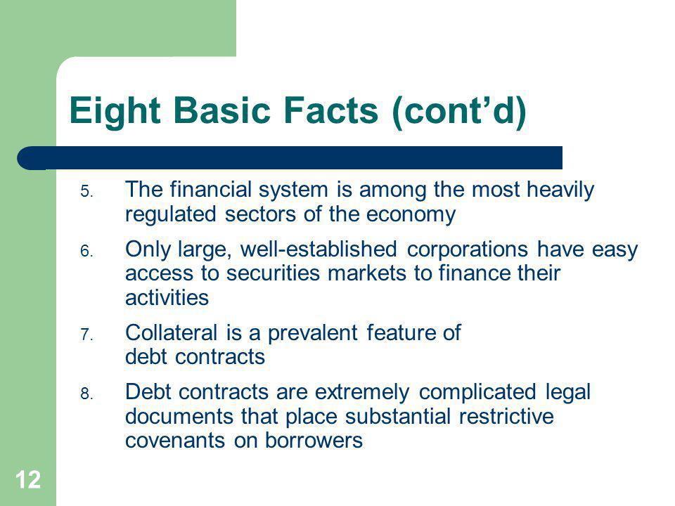 12 Eight Basic Facts (contd) 5. The financial system is among the most heavily regulated sectors of the economy 6. Only large, well-established corpor