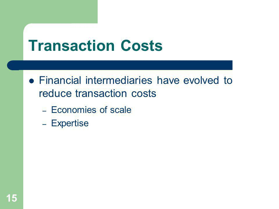 15 Transaction Costs Financial intermediaries have evolved to reduce transaction costs – Economies of scale – Expertise