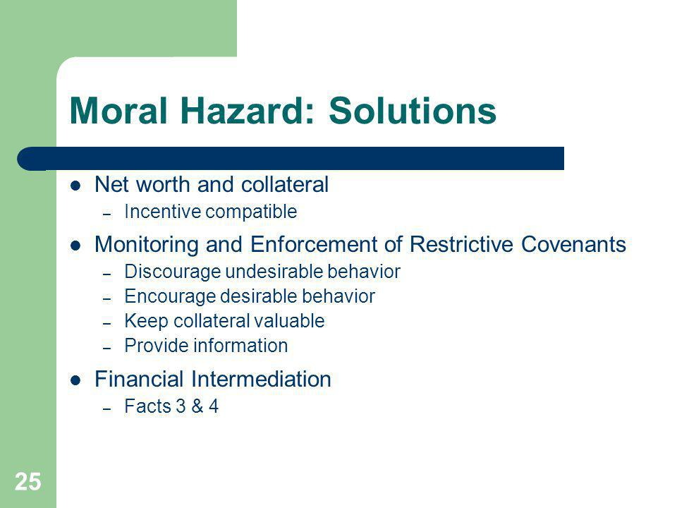 25 Moral Hazard: Solutions Net worth and collateral – Incentive compatible Monitoring and Enforcement of Restrictive Covenants – Discourage undesirabl