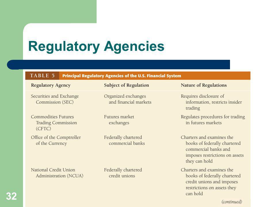 32 Regulatory Agencies