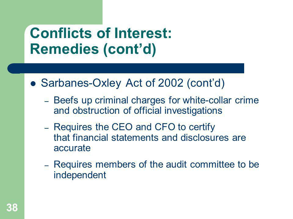 38 Conflicts of Interest: Remedies (contd) Sarbanes-Oxley Act of 2002 (contd) – Beefs up criminal charges for white-collar crime and obstruction of of