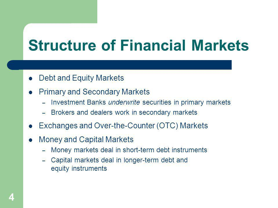 4 Structure of Financial Markets Debt and Equity Markets Primary and Secondary Markets – Investment Banks underwrite securities in primary markets – B