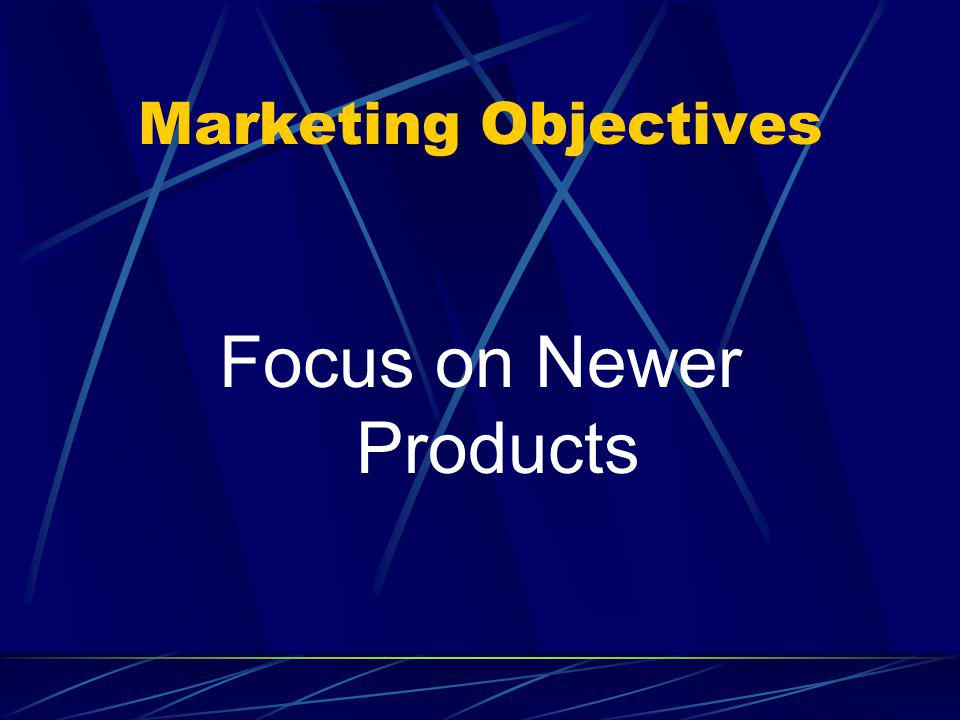Marketing Objectives Focus on Newer Products