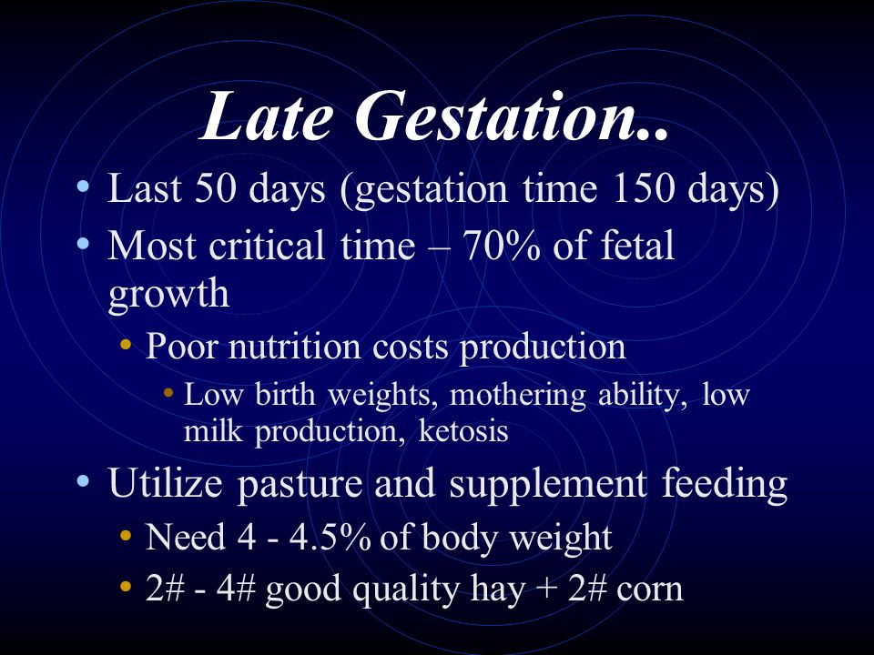 Late Gestation.. Last 50 days (gestation time 150 days) Most critical time – 70% of fetal growth Poor nutrition costs production Low birth weights, mo