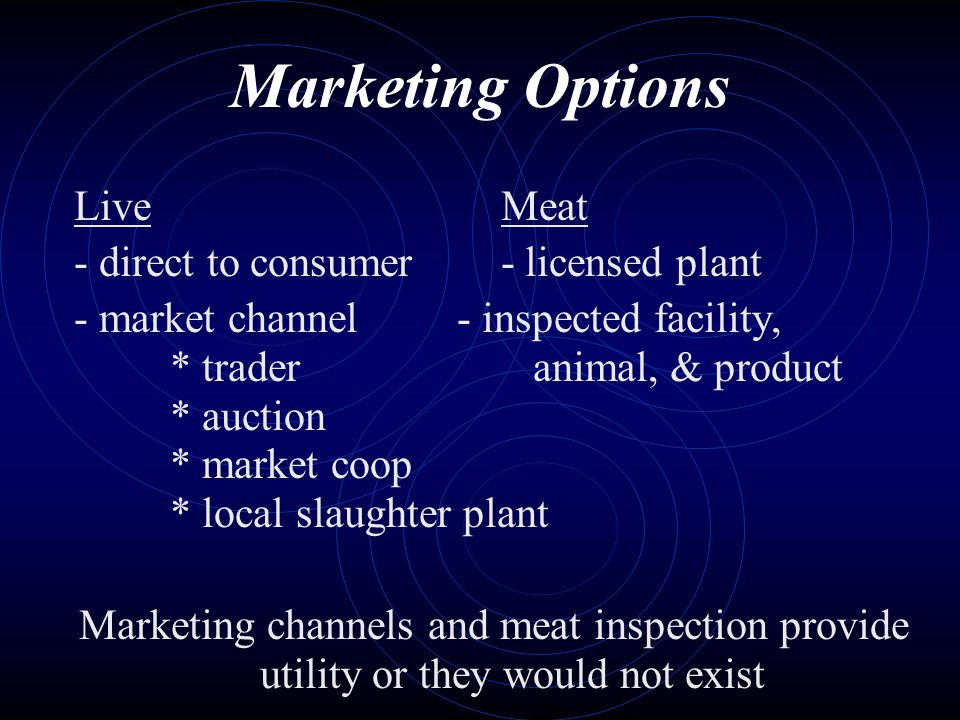 Marketing Options Live Meat - direct to consumer - licensed plant - market channel - inspected facility, * trader animal, & product * auction * market