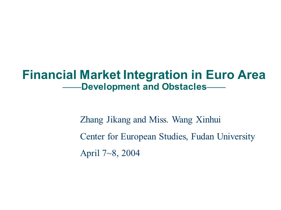 Brief introduction of two data analysis index Exchange rate volatility From Time-Varying Integration Euro Area Average GARCH 12-Month Rolling Estimates, we can see Volatility in integration of stock markets remains A low degree of integration during 1992-93 and 1995 A very rapid increase between 1996-99 A leveling off in 1999-2000