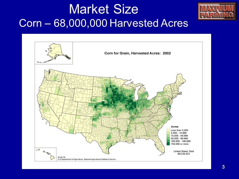 3 Market Size Corn – 68,000,000 Harvested Acres