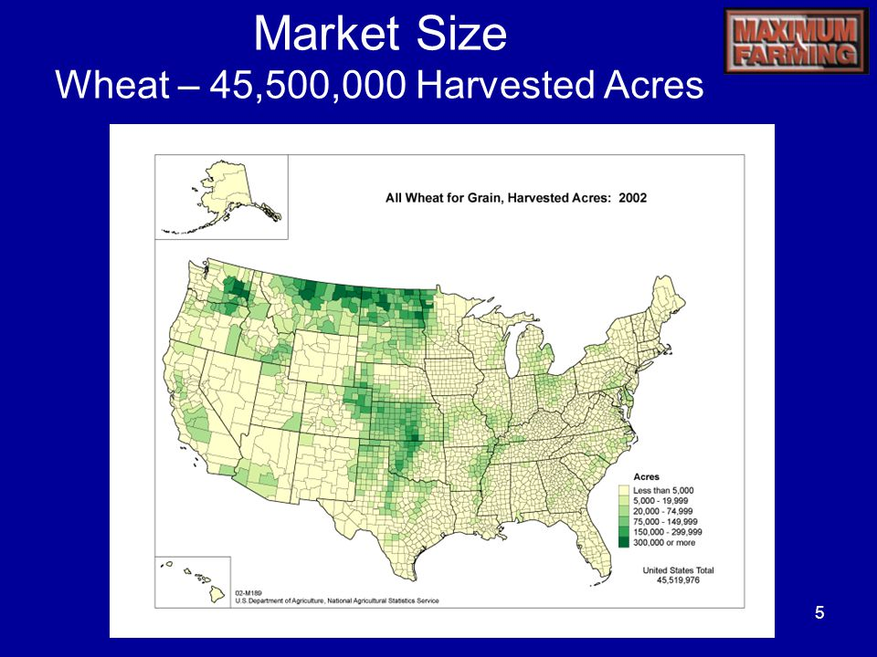 5 Market Size Wheat – 45,500,000 Harvested Acres