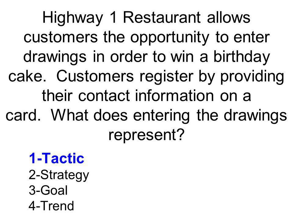 Highway 1 Restaurant allows customers the opportunity to enter drawings in order to win a birthday cake. Customers register by providing their contact