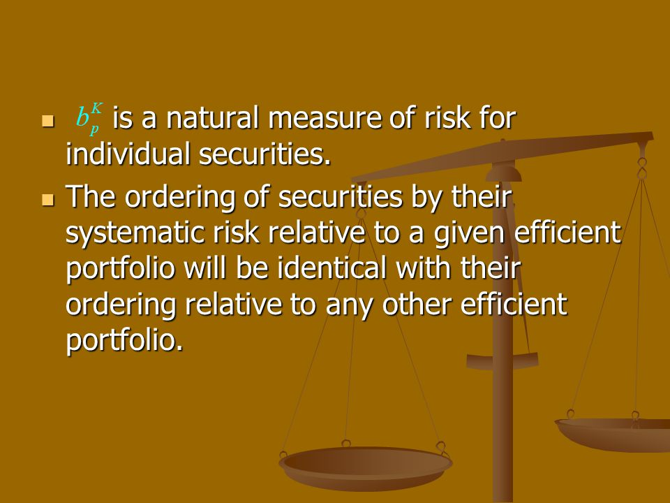 is a natural measure of risk for individual securities.