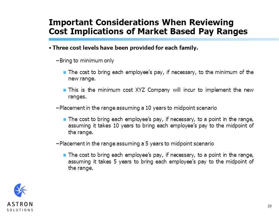 20 Important Considerations When Reviewing Cost Implications of Market Based Pay Ranges Three cost levels have been provided for each family.
