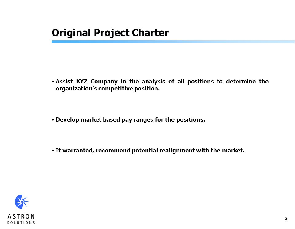 3 Original Project Charter Assist XYZ Company in the analysis of all positions to determine the organizations competitive position.