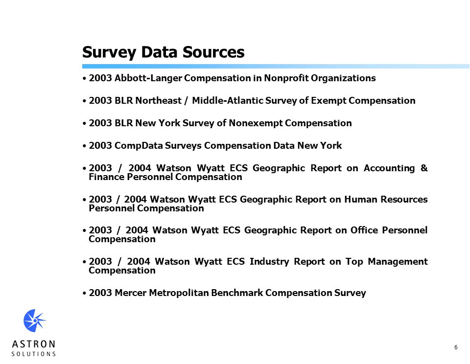 6 Survey Data Sources 2003 Abbott-Langer Compensation in Nonprofit Organizations 2003 BLR Northeast / Middle-Atlantic Survey of Exempt Compensation 2003 BLR New York Survey of Nonexempt Compensation 2003 CompData Surveys Compensation Data New York 2003 / 2004 Watson Wyatt ECS Geographic Report on Accounting & Finance Personnel Compensation 2003 / 2004 Watson Wyatt ECS Geographic Report on Human Resources Personnel Compensation 2003 / 2004 Watson Wyatt ECS Geographic Report on Office Personnel Compensation 2003 / 2004 Watson Wyatt ECS Industry Report on Top Management Compensation 2003 Mercer Metropolitan Benchmark Compensation Survey