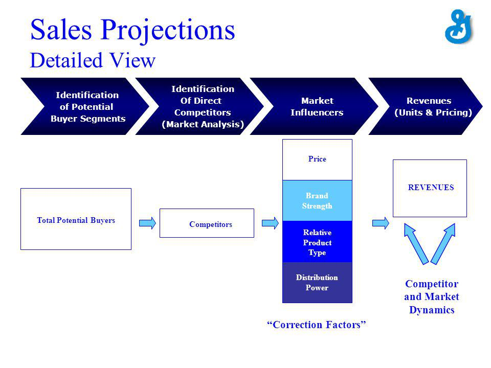 Sales Projections Detailed View Total Potential Buyers Competitors Relative Product Type Brand Strength Price Correction Factors Distribution Power REVENUES Competitor and Market Dynamics Identification of Potential Buyer Segments Market Influencers Identification Of Direct Competitors (Market Analysis) Revenues (Units & Pricing)
