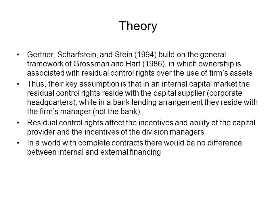 Theory Gertner, Scharfstein, and Stein (1994) build on the general framework of Grossman and Hart (1986), in which ownership is associated with residual control rights over the use of firms assets Thus, their key assumption is that in an internal capital market the residual control rights reside with the capital supplier (corporate headquarters), while in a bank lending arrangement they reside with the firms manager (not the bank) Residual control rights affect the incentives and ability of the capital provider and the incentives of the division managers In a world with complete contracts there would be no difference between internal and external financing