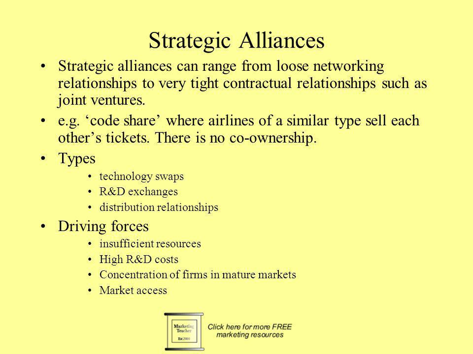 Joint ventures e.g European Airbus.Orgs can remain separate, but have a tight legal relationship.
