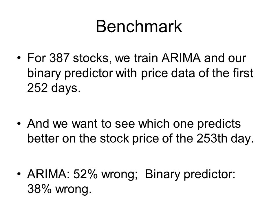 Benchmark For 387 stocks, we train ARIMA and our binary predictor with price data of the first 252 days.