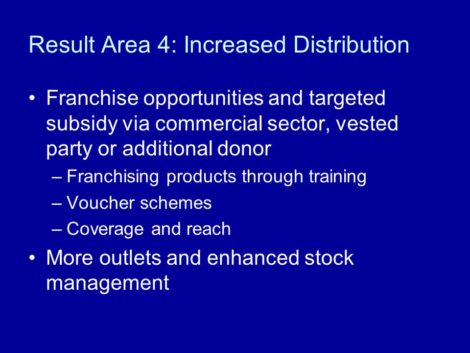 Result Area 4: Increased Distribution Franchise opportunities and targeted subsidy via commercial sector, vested party or additional donor –Franchising products through training –Voucher schemes –Coverage and reach More outlets and enhanced stock management