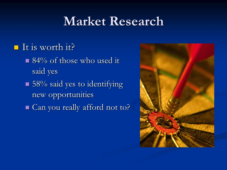 Market Research It is worth it? It is worth it? 84% of those who used it said yes 84% of those who used it said yes 58% said yes to identifying new op