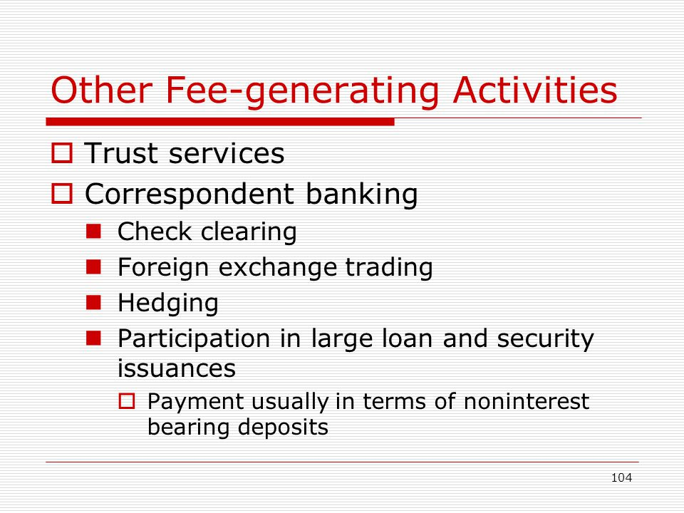 104 Other Fee-generating Activities Trust services Correspondent banking Check clearing Foreign exchange trading Hedging Participation in large loan a