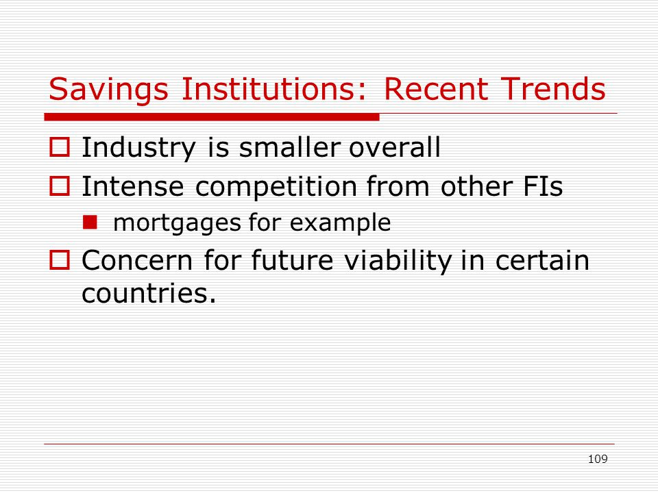 109 Savings Institutions: Recent Trends Industry is smaller overall Intense competition from other FIs mortgages for example Concern for future viabil