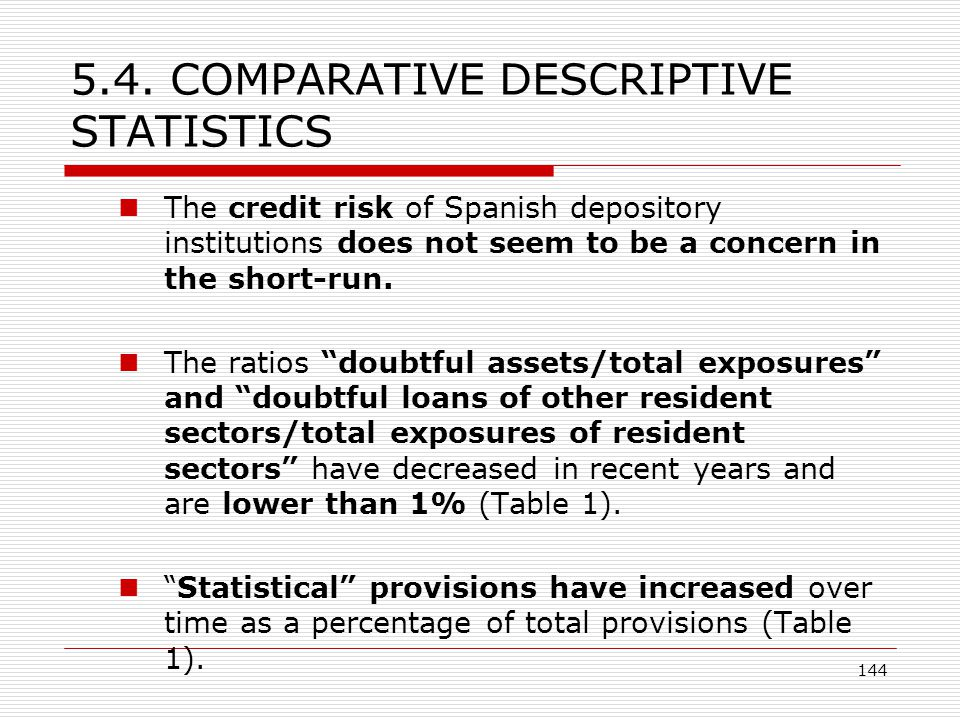 144 5.4. COMPARATIVE DESCRIPTIVE STATISTICS The credit risk of Spanish depository institutions does not seem to be a concern in the short-run. The rat