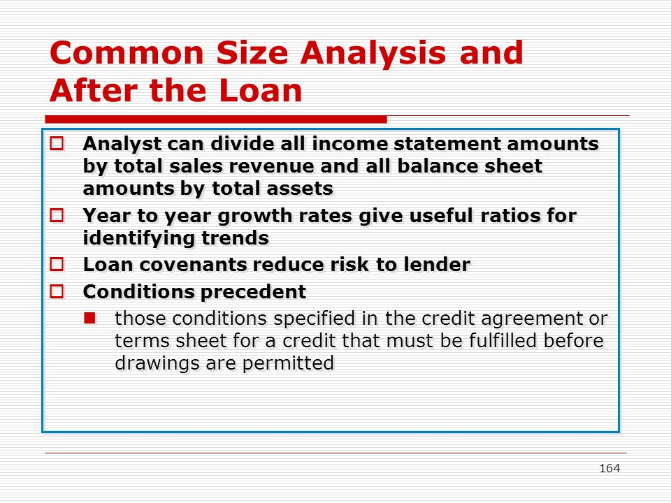 164 Common Size Analysis and After the Loan Analyst can divide all income statement amounts by total sales revenue and all balance sheet amounts by to