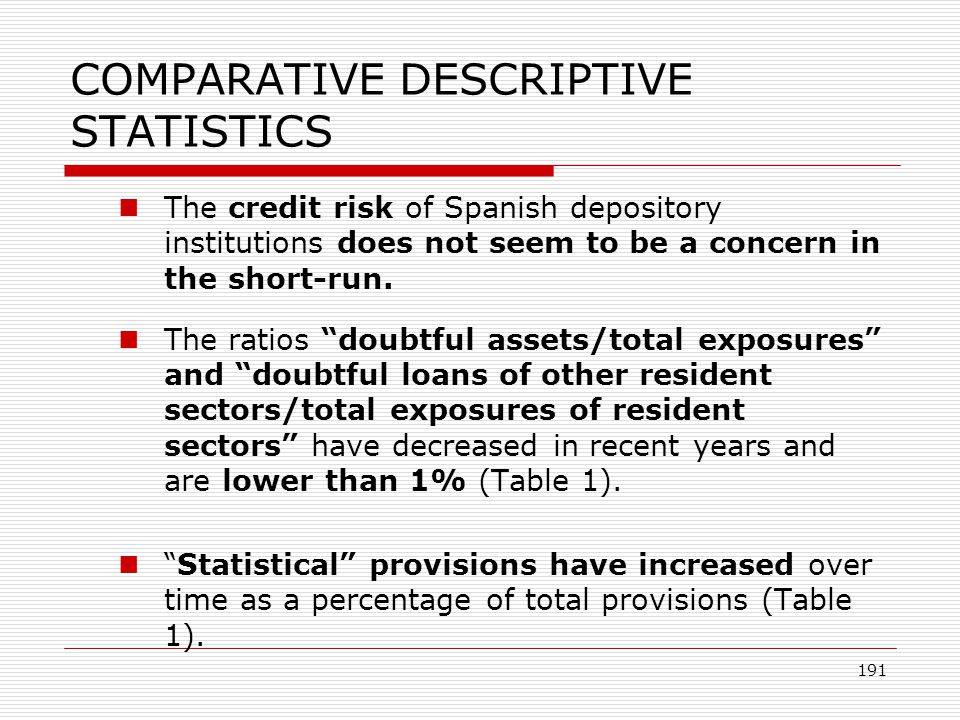 191 COMPARATIVE DESCRIPTIVE STATISTICS The credit risk of Spanish depository institutions does not seem to be a concern in the short-run. The ratios d