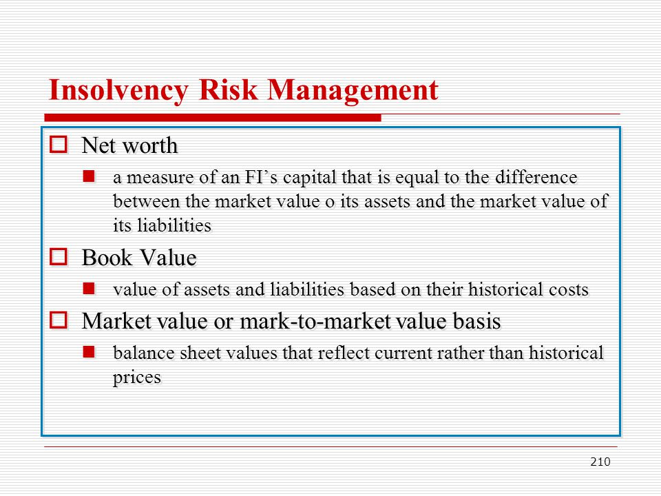 210 Insolvency Risk Management Net worth a measure of an FIs capital that is equal to the difference between the market value o its assets and the mar