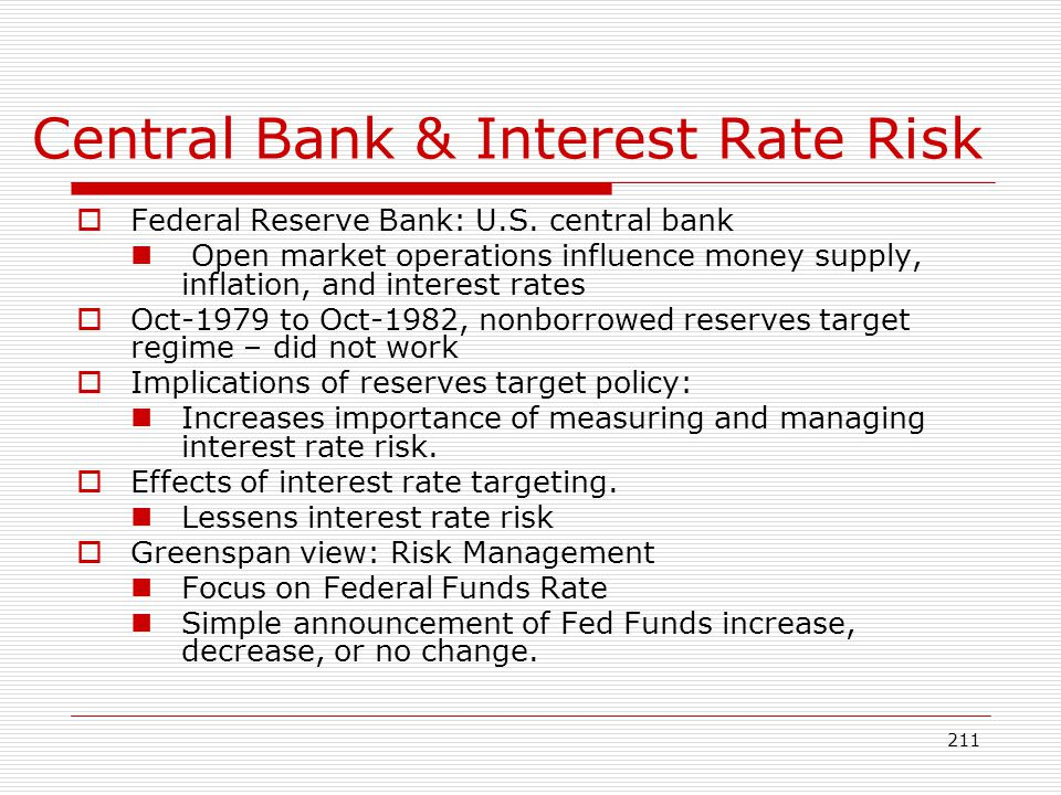 211 Central Bank & Interest Rate Risk Federal Reserve Bank: U.S. central bank Open market operations influence money supply, inflation, and interest r