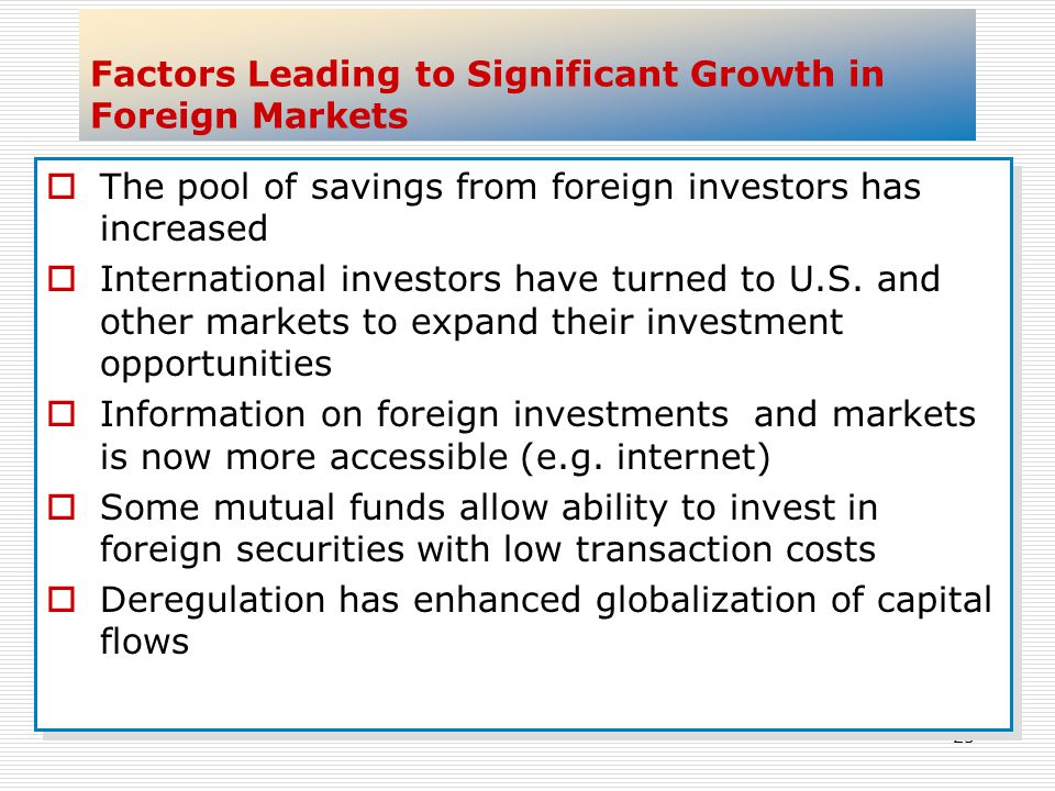 25 Factors Leading to Significant Growth in Foreign Markets The pool of savings from foreign investors has increased International investors have turn