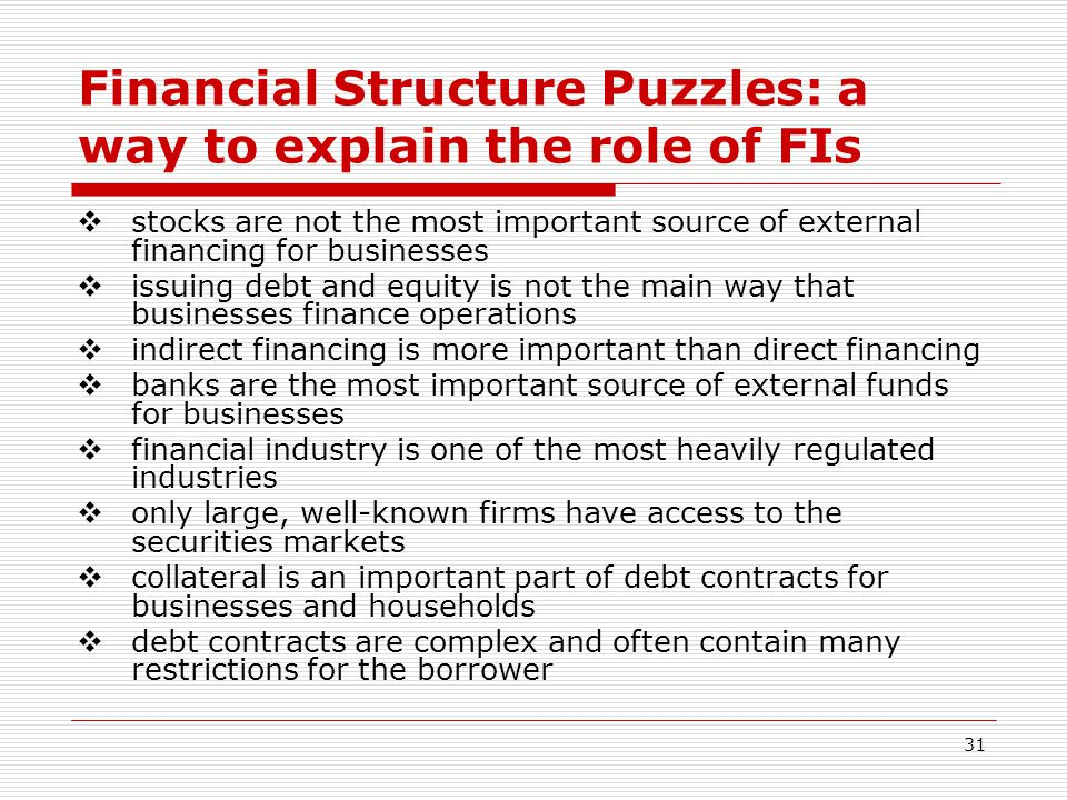 31 Financial Structure Puzzles: a way to explain the role of FIs stocks are not the most important source of external financing for businesses issuing