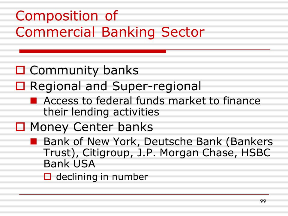 99 Composition of Commercial Banking Sector Community banks Regional and Super-regional Access to federal funds market to finance their lending activi