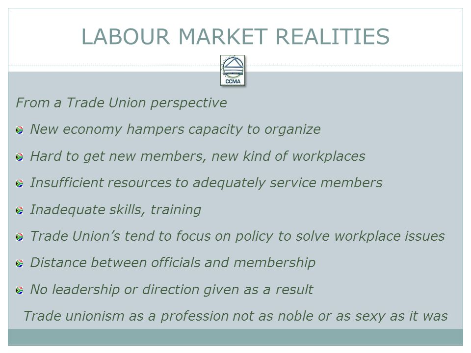 From a Trade Union perspective New economy hampers capacity to organize Hard to get new members, new kind of workplaces Insufficient resources to adequately service members Inadequate skills, training Trade Unions tend to focus on policy to solve workplace issues Distance between officials and membership No leadership or direction given as a result Trade unionism as a profession not as noble or as sexy as it was LABOUR MARKET REALITIES