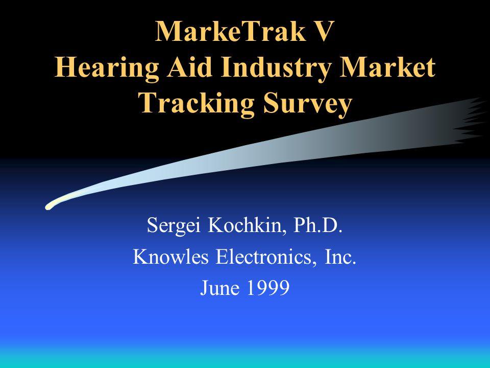 MarkeTrak V Hearing Aid Industry Market Tracking Survey Sergei Kochkin, Ph.D.