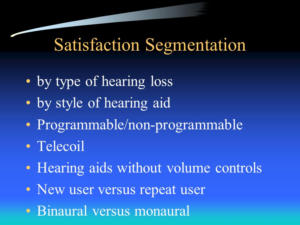 Satisfaction Segmentation by type of hearing loss by style of hearing aid Programmable/non-programmable Telecoil Hearing aids without volume controls New user versus repeat user Binaural versus monaural
