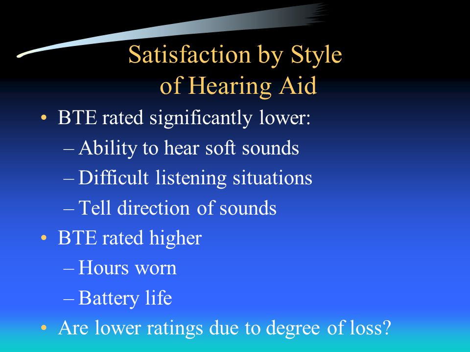 Satisfaction by Style of Hearing Aid BTE rated significantly lower: –Ability to hear soft sounds –Difficult listening situations –Tell direction of sounds BTE rated higher –Hours worn –Battery life Are lower ratings due to degree of loss