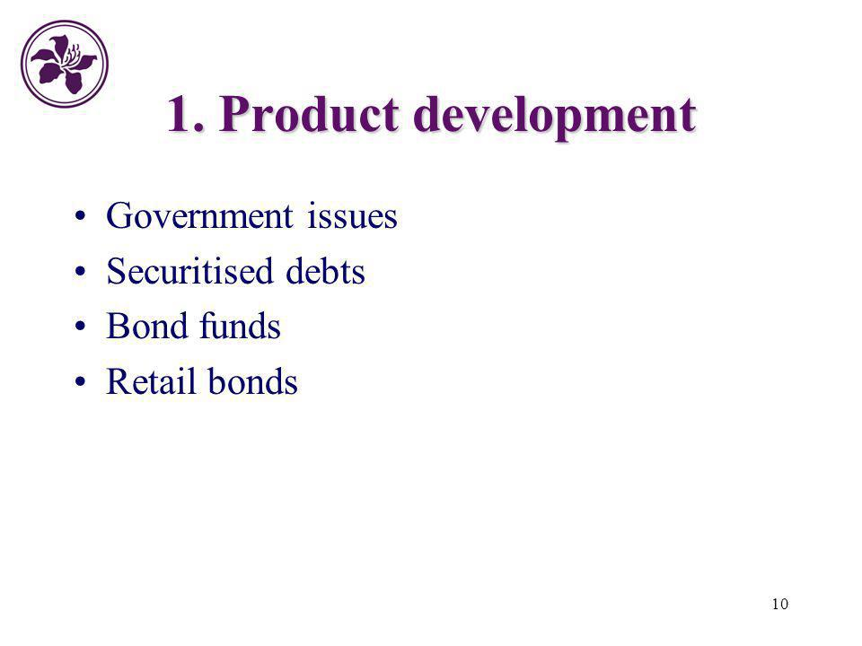 10 1. Product development Government issues Securitised debts Bond funds Retail bonds