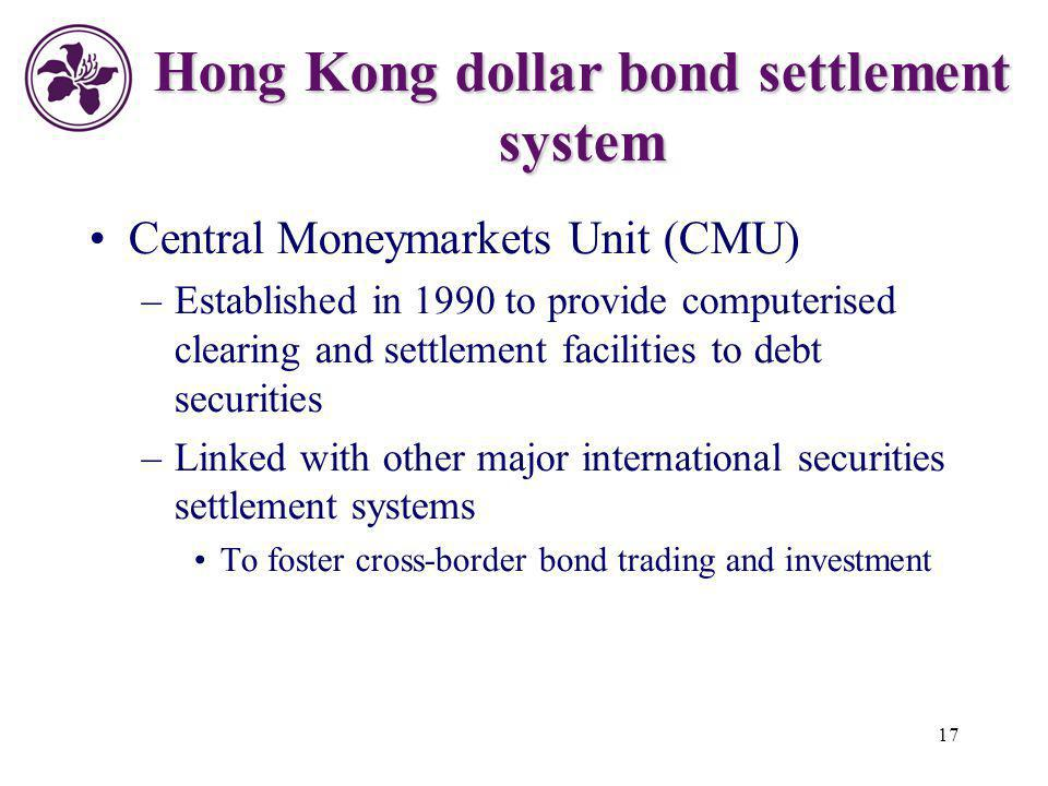17 Hong Kong dollar bond settlement system Central Moneymarkets Unit (CMU) –Established in 1990 to provide computerised clearing and settlement facili