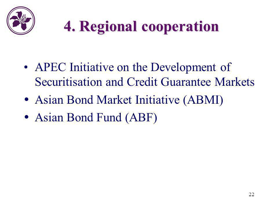 22 4. Regional cooperation APEC Initiative on the Development of Securitisation and Credit Guarantee Markets Asian Bond Market Initiative (ABMI) Asian
