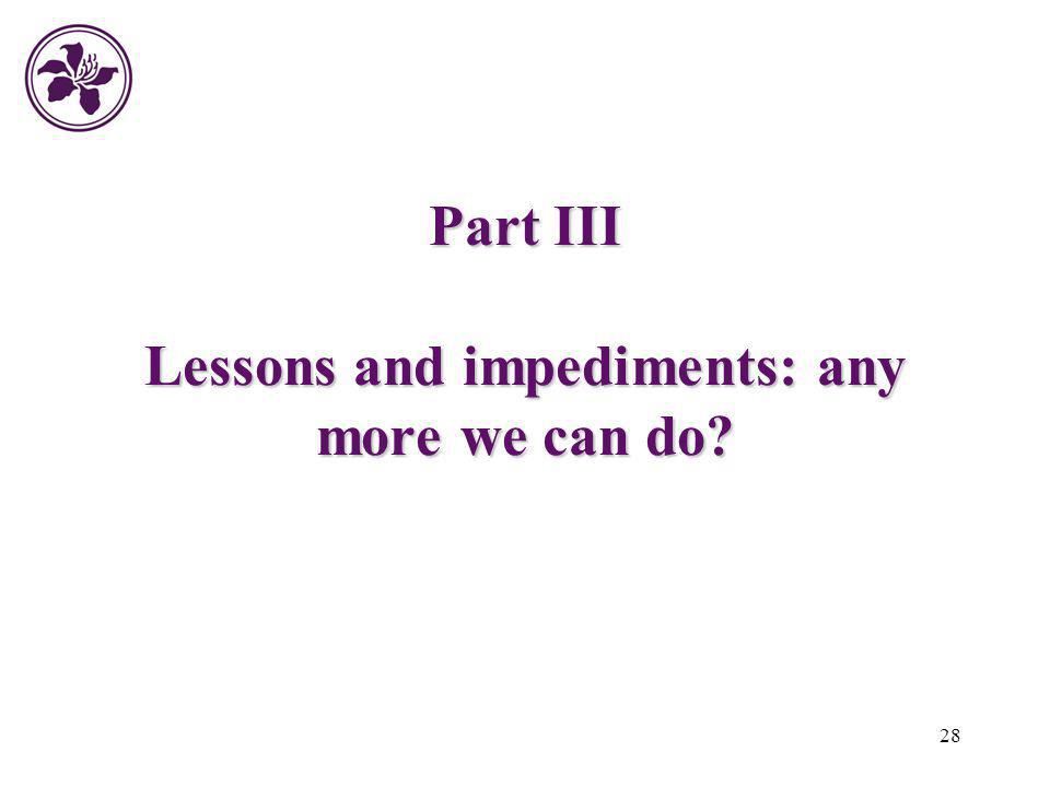 28 Part III Lessons and impediments: any more we can do?
