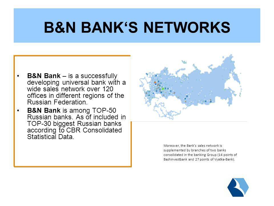 B&N Bank – is a successfully developing universal bank with a wide sales network over 120 offices in different regions of the Russian Federation.